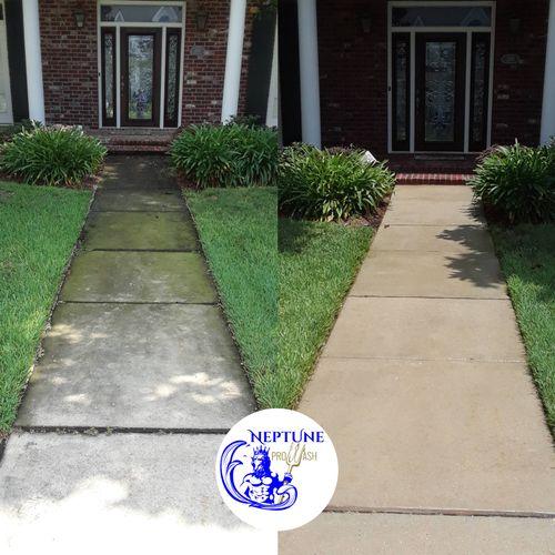 Sidewalk pressure washing in Kenner 70065 by Neptune ProWash