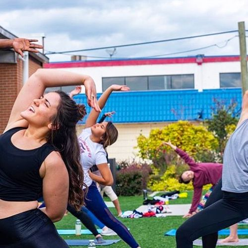 Teaching meditation and yoga at the opening of F45 in Downtown Houston