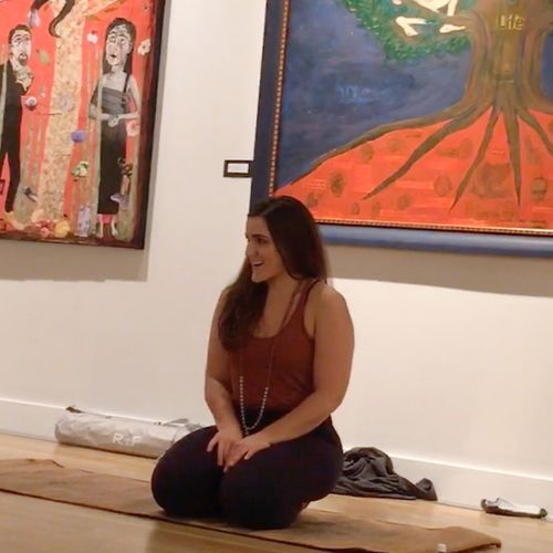 Teaching energetic meditation and yoga at an art exhibit in Midtown, Houston