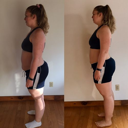 21 day transformation following her customized Nutrition Plan