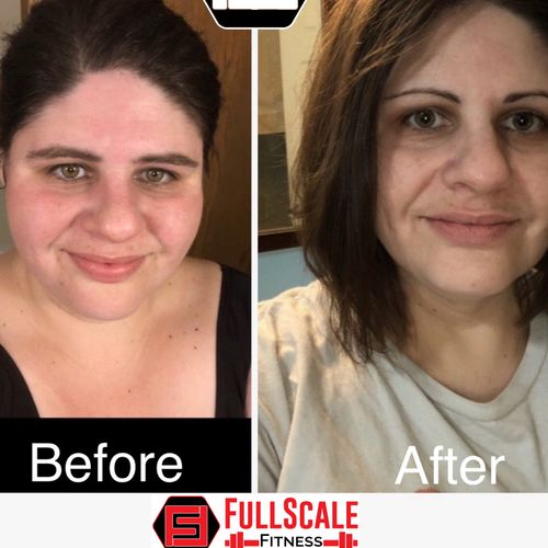 Before and after - over 50lbs lost! She worked with a one of our trainers 2x per week.