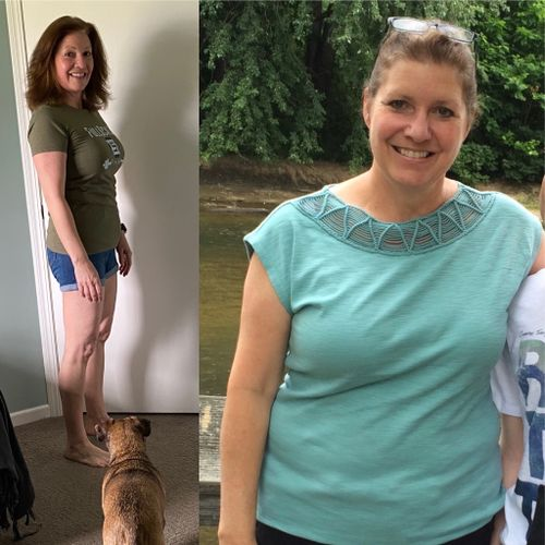An awesome before and after! What you can't see is the amazing strength and confidence she has gained with training!