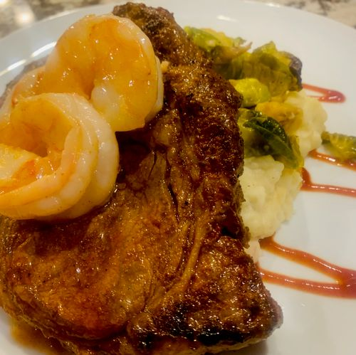 surf and turf with Garlic Butter Shrimp and 12 Oz ribeye Steak