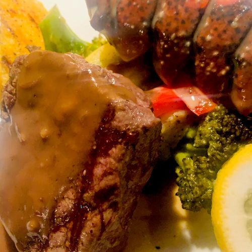 Surf and Turf with Filet Mignon and Grilled Lobstertails
