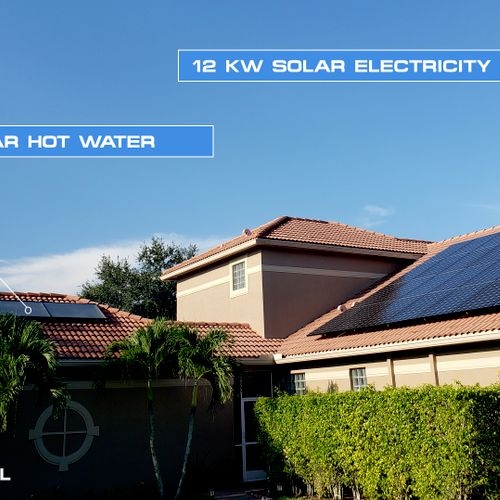 12KW Solar Electricity and Solar Hot Water in Boca Raton, FL