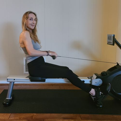 Warming up on my rower