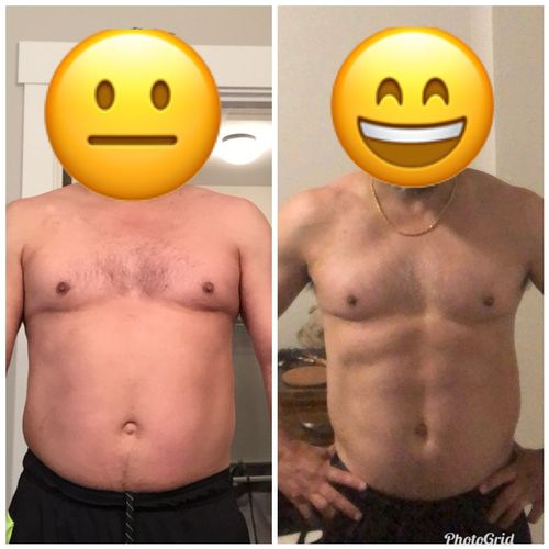My guy E! This is over a 6 month period. He never got on the scale, but clearly lost fat and gained muscle.