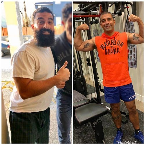 My boy Raoul! 1.5 years in the making. 180 lbs at 24% bodyfat on the left, 180 lbs at 11.2% body fat on the right. Completely transformed his body.