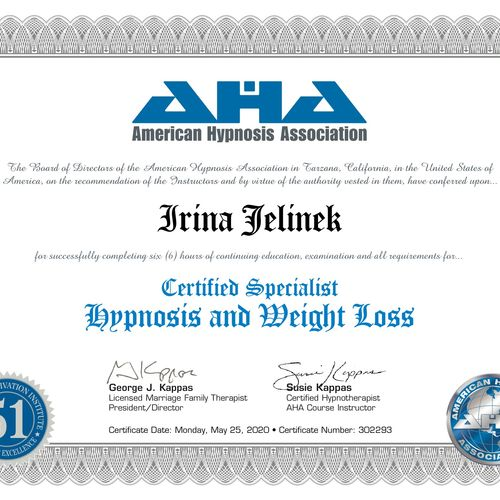 Certified in Hypnosis for Weight Loss