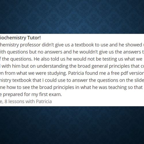 Review from Wyzant Tutoring