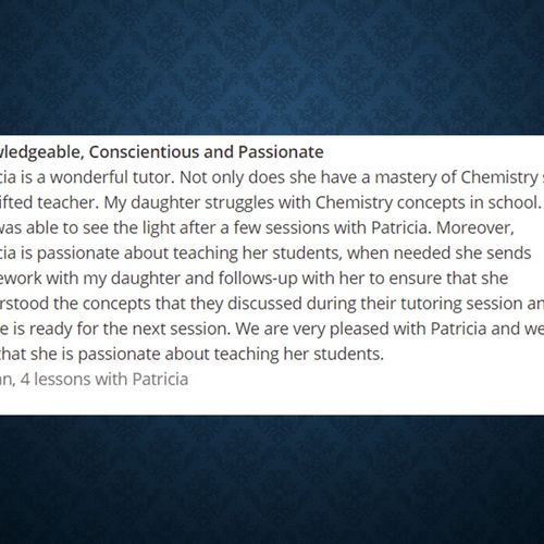 Review from Wyzant Chemistry