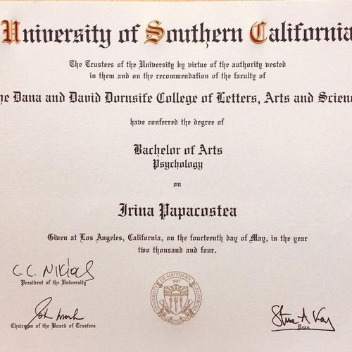 BA in Psychology from USC vcx