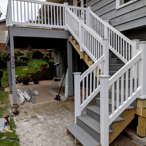 Rebuild wood deck with composite decking and PVC stairs and railings