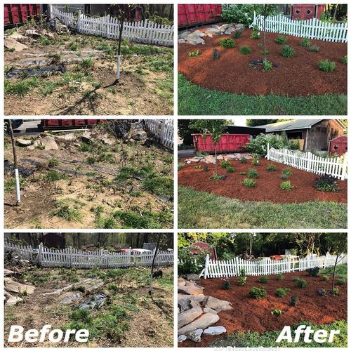 Garden install with fabric and mulch