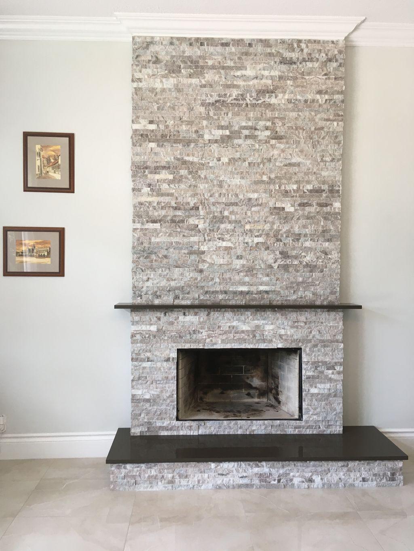 Fire place ledger stone and quartz mantel