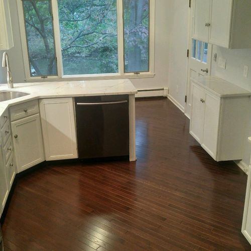 Kitchen painting and new flooring installation