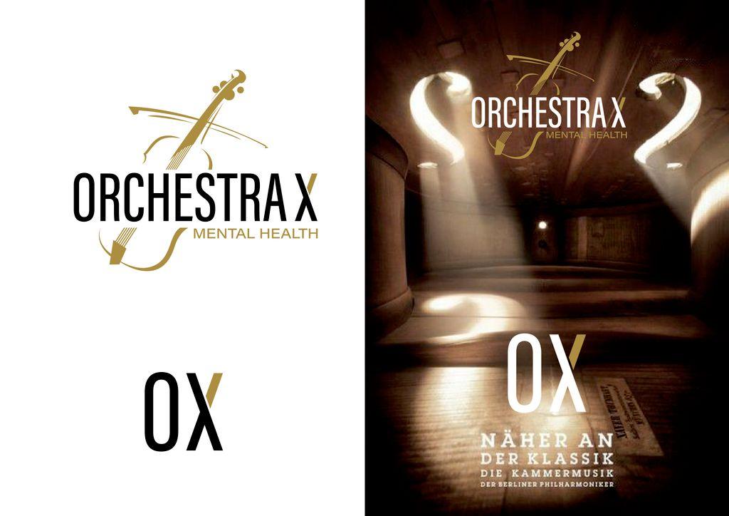 Orchestra X classic violin logo design