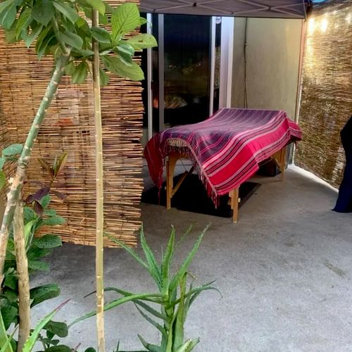 Outdoor massage space ventilated yet private