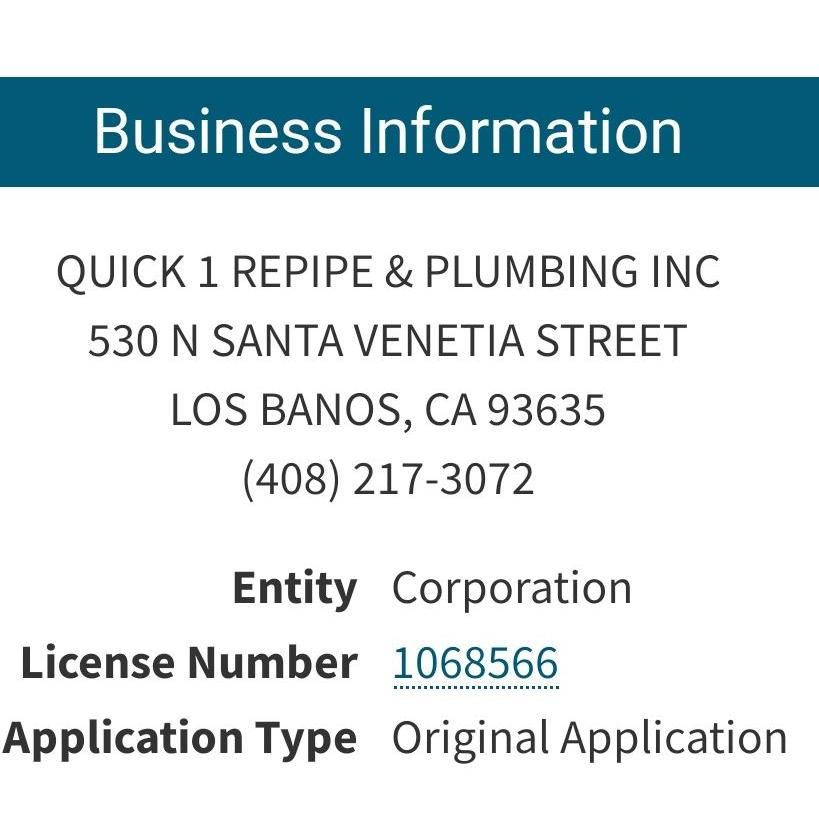 Quick 1 repipe and plumbing, Inc