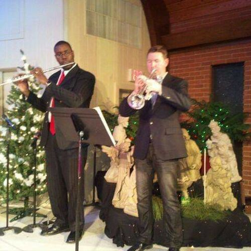 Playing a duet with my former Pastor