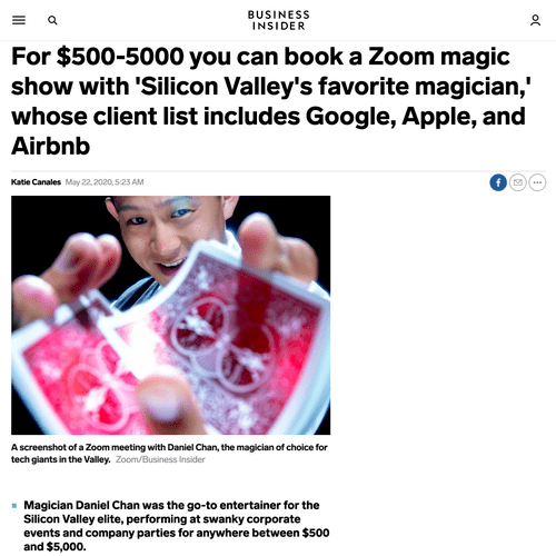 Business Insider featuring Dan's pivot to Zoom