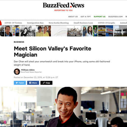 """Buzzfeed feature - """"Silicon Valley's Favorite Magician"""""""