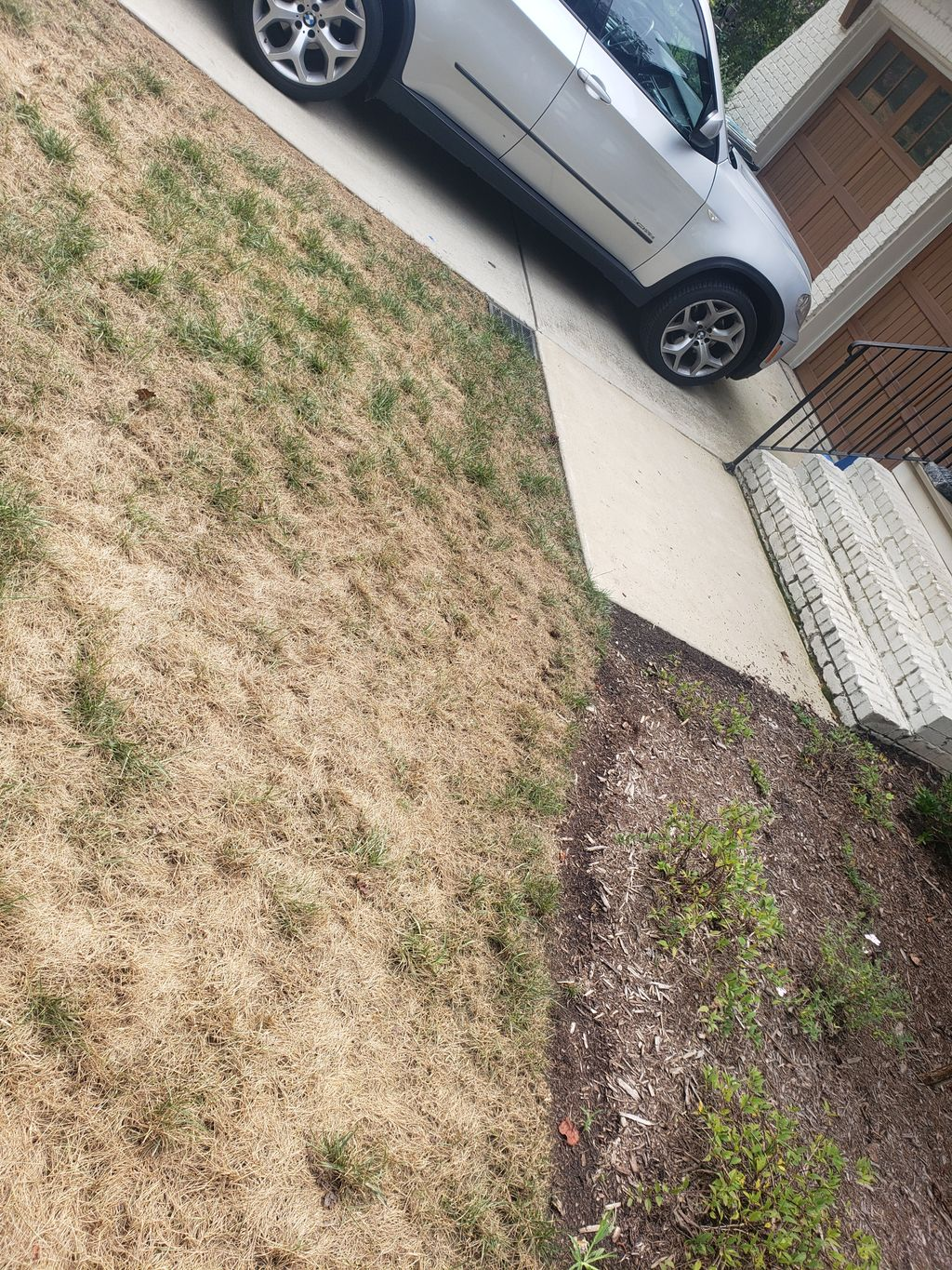 french drain system, mulch bed with plants, other rock beds