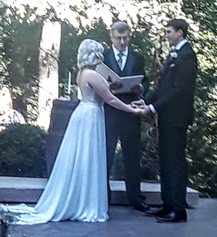 Outdoor patio woods wedding