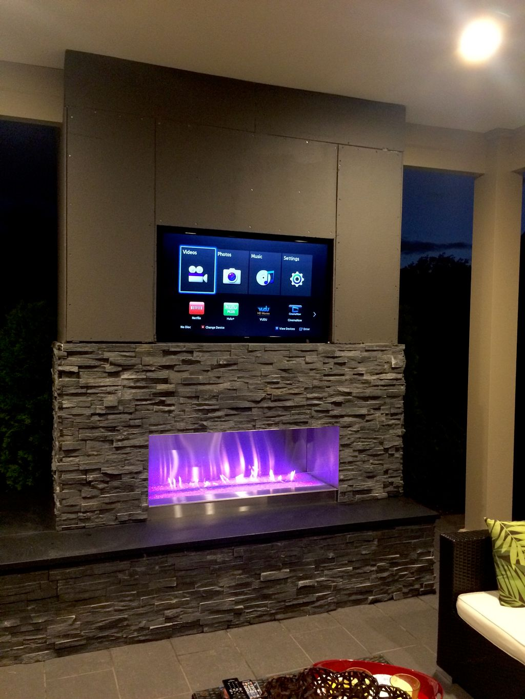 Outdoor patio fireplace TV