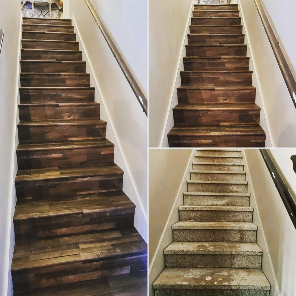 luxury vinyl plank stair case installation