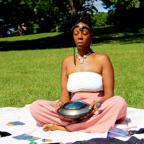 preparing for a card reading and sound meditation session