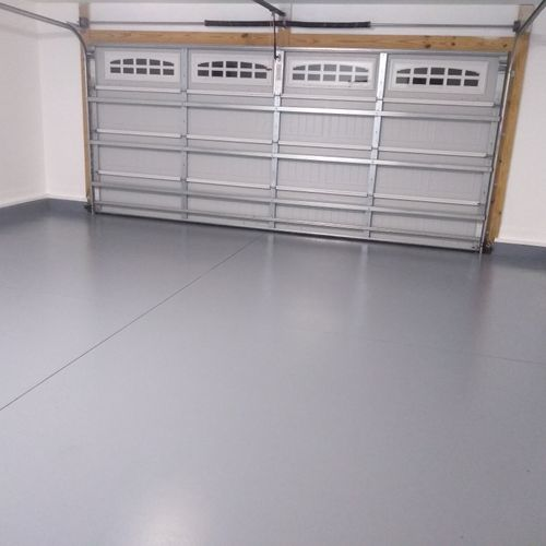 Completed garage epoxy and clear to coat. What a difference this makes.  Looks beautiful.