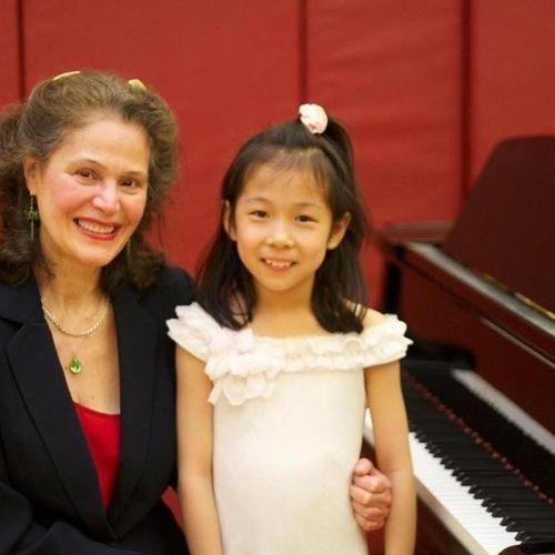 Teacher and student at the recital! Trevor Day School, Manhattan, 2011