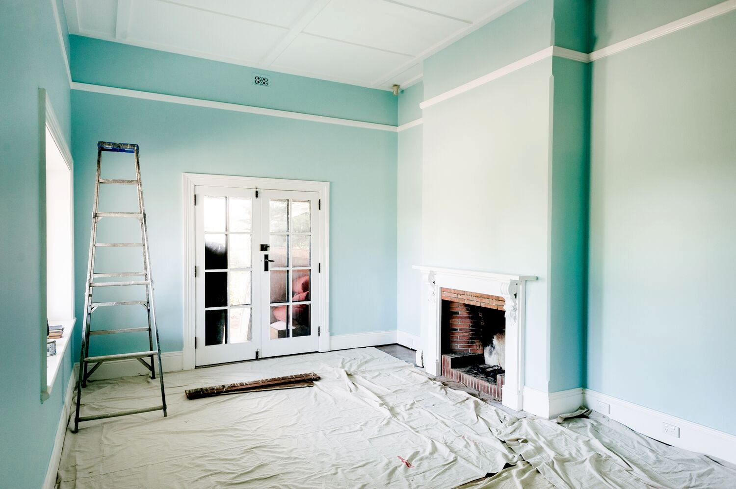 newly painted blue room