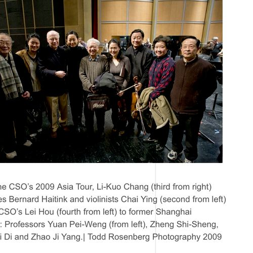 Chicago Symphony 2009 Asian tour with maestro Haitink
