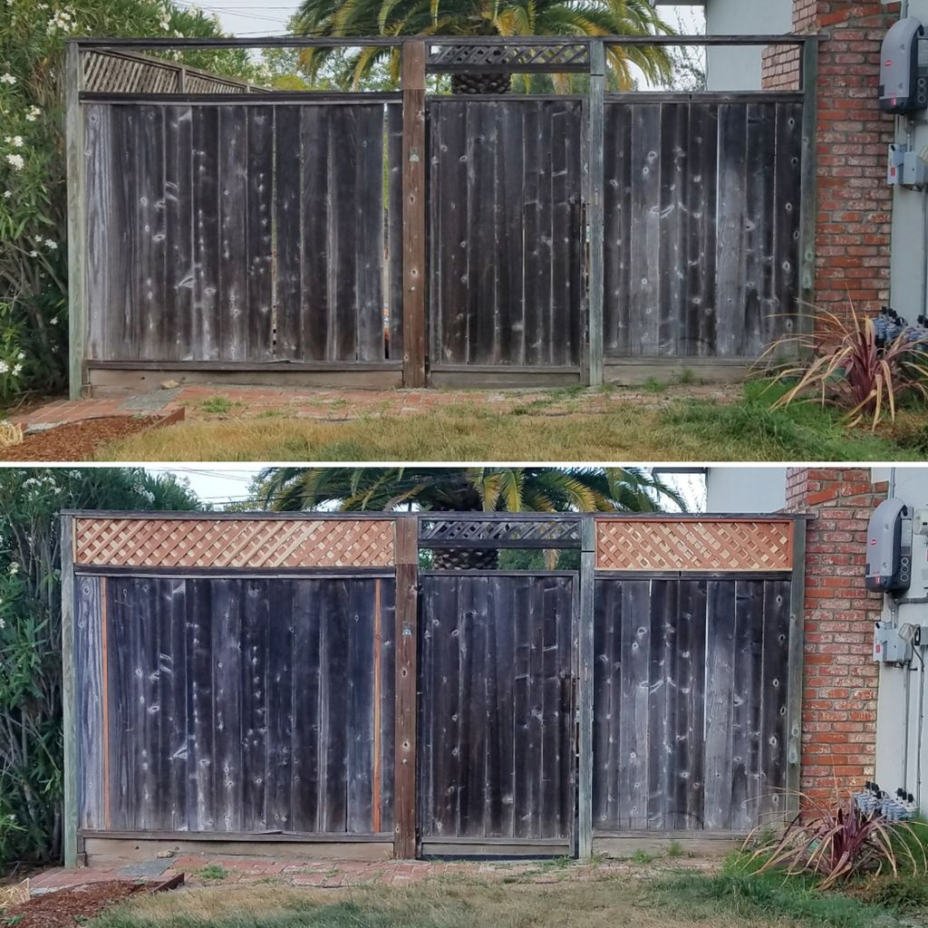 Cosmetic Fence Repair Lattice and Board Replacement