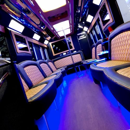 Our 30 passenger lux party coach! 4 TVs, premium sound system, fiber optic lighting, desert AC for cool summertime comfort!