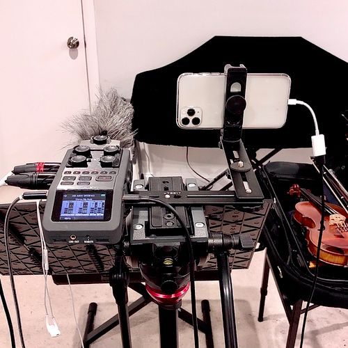 Premium setup for Zoom lessons: Canon XC10 for video and Neumann U 87 Ai for audio; upgraded from Zoom H6, SSH-6, and iPhone 11 Pro Max as pictured.