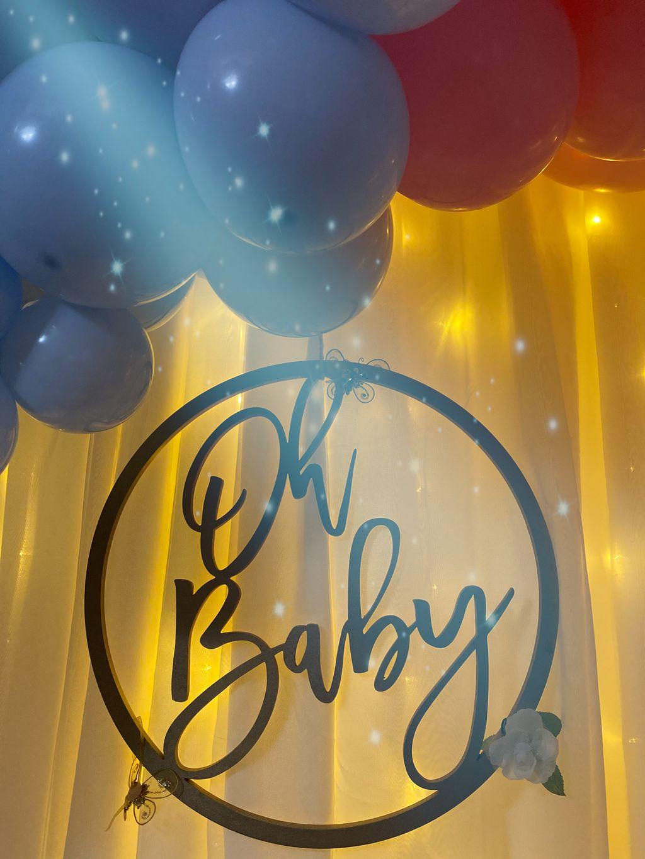 Virtual Baby Gender Reveal backdrop