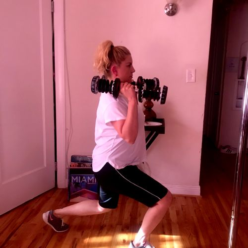 Client in home workout