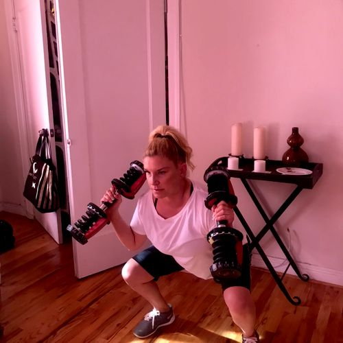 Tina is getting a great indoor workout in the comfort of her living room!