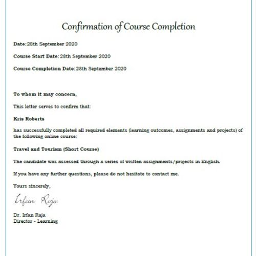 Travel and Tourism Certificate