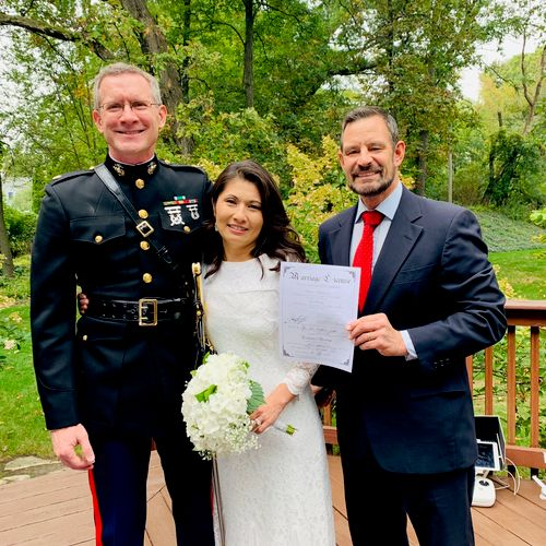 Such an honor to marry a Marine and his lady on the deck of their home.