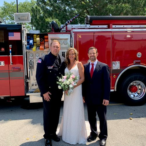So honored to marry this first responder and his bride at the fire station in Lincolnshire Illinois.