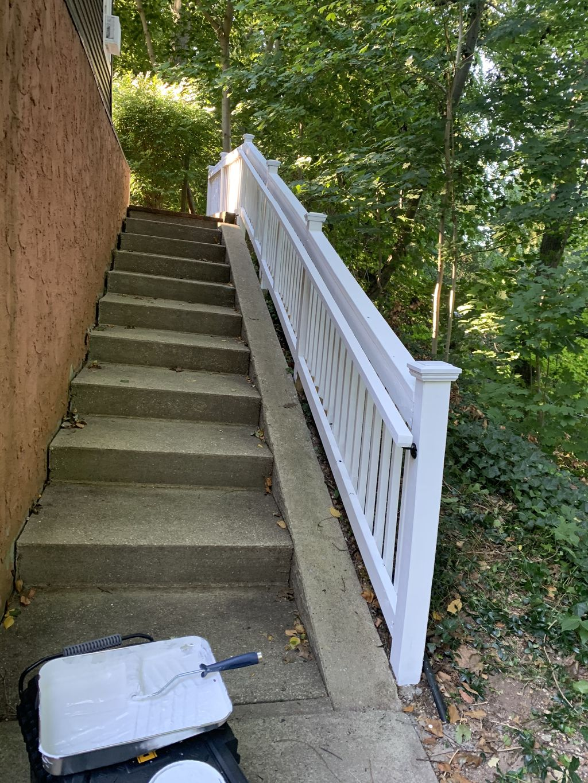 Painting outside railing