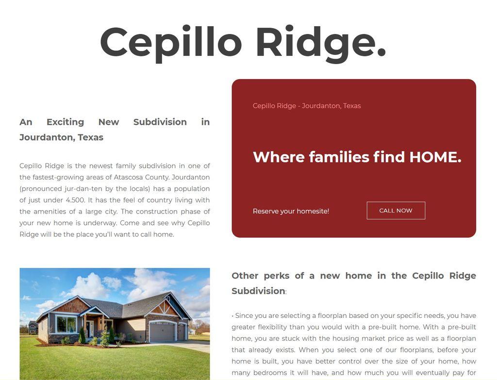 Home Builder Subdivision Website