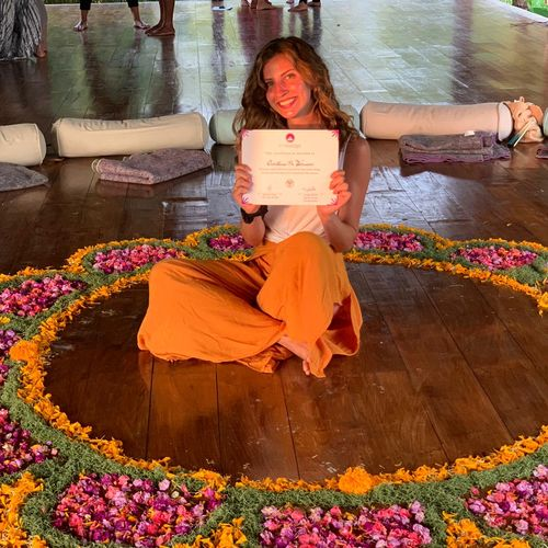Here I am with my beloved 200hr RYT certificate. I love learning about yoga and am always furthering my education.