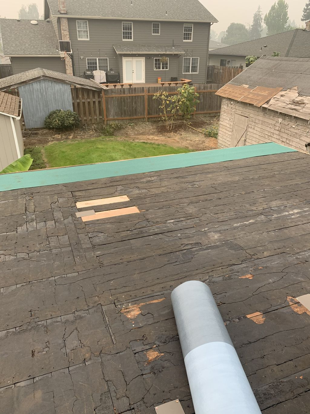 Flat roof with some deck replacement