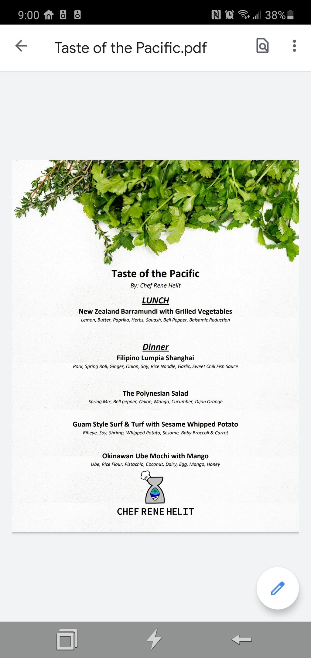 Private Dinner, October 10, 2020 - Taste of the Pacific