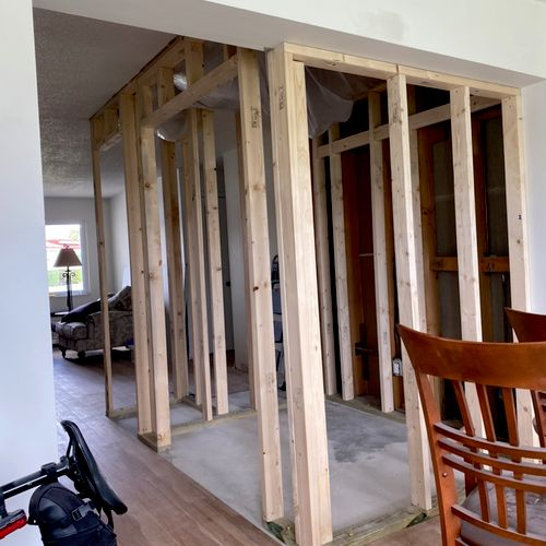 Laundry room and pantry closet addition -Framing